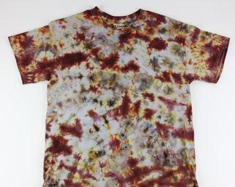 Adult Medium Burgundy Brushed on Browns Crumple Ice Tie Dye Shirt