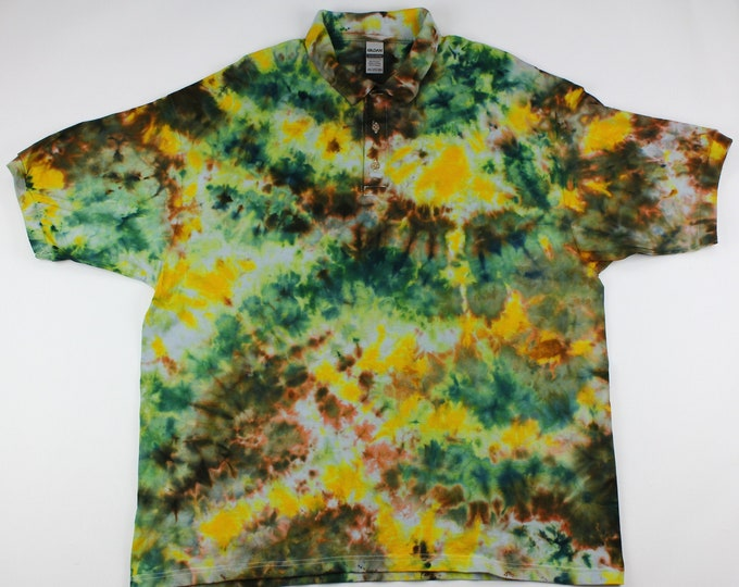Featured listing image: Adult 2XL Sun Through the Forest Canopy Crumple Ice Tie Dye Gold Polo Shirt