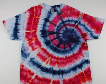 Adulr XL Red, White & Blue Swirl Ice Tie Dye Shirt