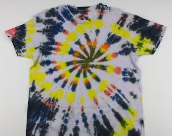 Adult Large Clean Yellow Wrap Swirl Tie Dye Shirt