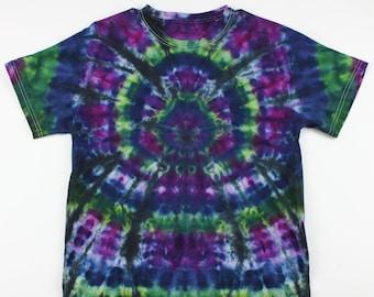 Adult Medium Purple & Green Spider Ice Tie Dye Shirt