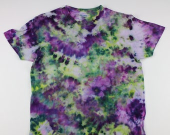 Adult Large Green & Purple Crumple Ice Tie Dye Shirt