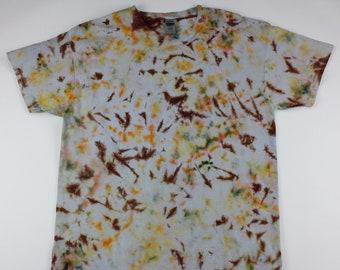 Adult XL Peach & Brown Shards Crumple Ice Tie Dye Shirt