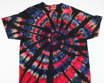 Adult XL Red, White & Blue Reverse Ice Tie Dye Shirt