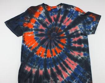 Adult 2XL Black, Orange & Blue Swirl Ice Tie Die Shirt