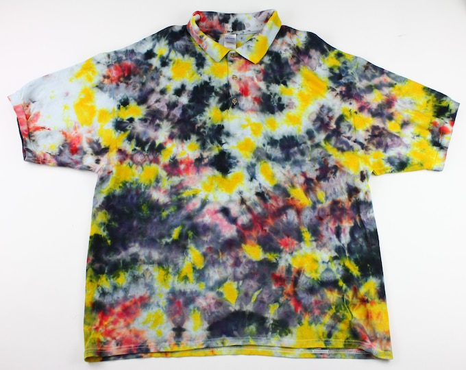 Featured listing image: Adult 2XL Dandilion & Timber Wolf Crumple Ice Tie Dye Polo Shirt