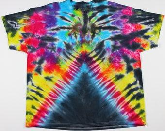 Adult 2XL Rainbow Spider Upsidedown V Tie Die Shirt
