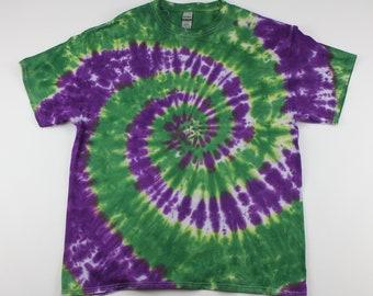 Adult XL Purple & Green Swirl Tie Dye Shirt