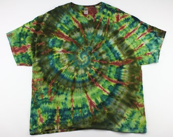 Adult 3XL Forest Greens with Burgundy Ice Tie Dye Shirt