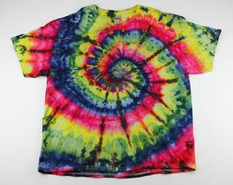 Adult 3XL Primary with Black Swirl Ice Tie Dye Shirt