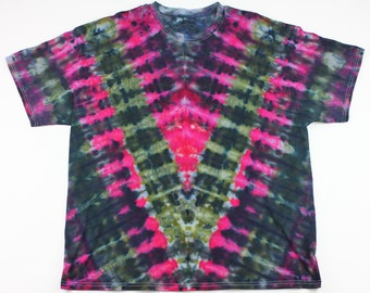 Adult 2XL Greens, Pinks & Things V Ice Tie Dye Shirt