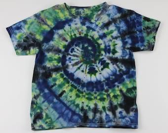 Youth Small Green, Blue & Black Swirl Ice Tie Dye Shirt
