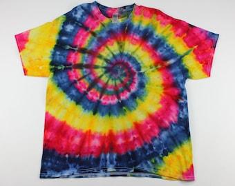 Adult XL Primary Swirls Ice Tie Dye Shirt