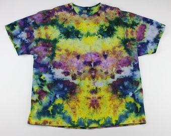 Adult 2XL Yellow & Purple Crumple Ice Tie Dye Shirt