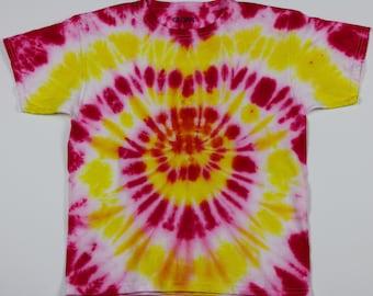 Youth Medium Red & Yellow Circles Tie Dye Shirt