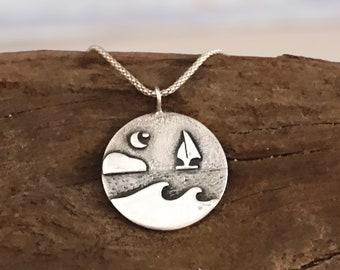 Silver wave pendant. Seascape necklace. Starry night ocean pendant.