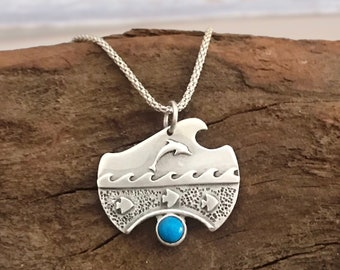 Silver wave and dolphin pendant with turquoise. Ocean pendant with turquoise.
