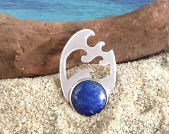 Large wave silver pendant with lapis lazuli. Seascape pendant.