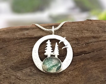 Pine tree forest pendant with moss agate. Landscape silver pendant. Nature inspired jewelry.