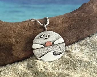 Sunset ocean pendant. Seascape mixed metal pendant.