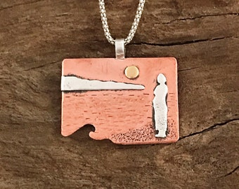 Seascape mixed metal pendant. Sunset at the beach. Nature inspired jewelry.