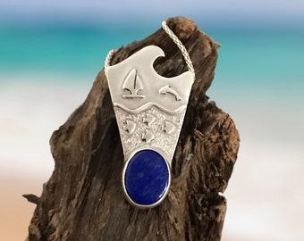 Seascape pendant with lapis lazuli. Ocean life pendant.  Seascape silver pndant.
