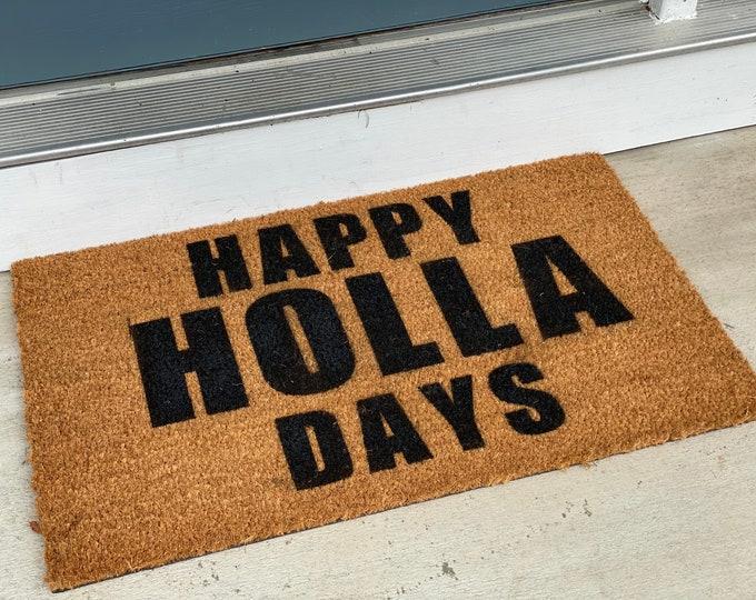 Merry Christmas doormat, holiday doormat, Christmas decor, funny doormat, holiday decor, Santa decor, holla days , HO HO