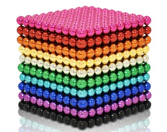 Blue Edition MagneDotz Magnetic Balls 3 mm 1010 Pieces Magnet Ball Cube Fidget Gadget Toys Rare Earth Magnet Office Desk Toy Games Multicolor Beads Stress Relief Toys for Adults