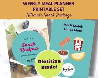 Plant Based Meal Plan Package Download for Snacks   Printable Digital Recipe Book   Family Recipe Book   Digital Meal Planner   Flexitarian