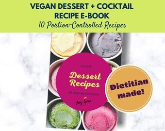 Vegan Meal Plan Download for Dessert + Cocktails   Printable Digital Recipe Book   Meal Planner   Vegetarian Family Recipe Planner   Sweets