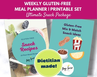 Gluten Free Meal Plan Package Download for Snacks   Printable Digital Recipe Book   Family Recipes   Digital Meal Planner   Plant Based