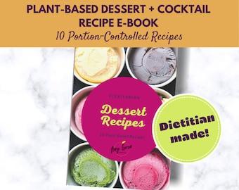 Plant Based Meal Plan Download for Dessert + Cocktails   Printable Digital Recipe Book   Meal Planner   Family Recipe Planner   Sweet Treats