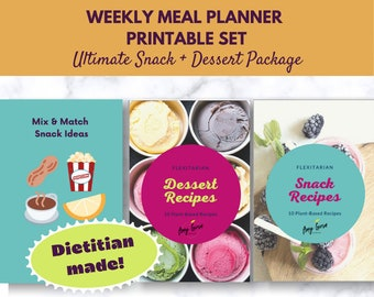 Plant Based Meal Plan Package Download for Snacks, Desserts & Cocktails   Flexitarian Printable   Digital Recipe Book   Meal Planner
