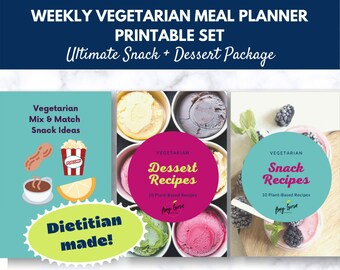 Vegetarian Meal Plan Package Download for Snacks, Desserts & Cocktails   Printable Package   Digital Recipe Book   Digital Meal Planner