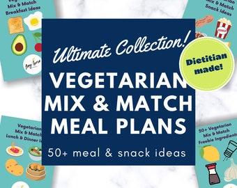 Vegetarian Meal Plan Printable for Breakfast, Lunch, Dinner + Snacks   50+ Menu Template Digital E-Book   Plant Based Meal Planner