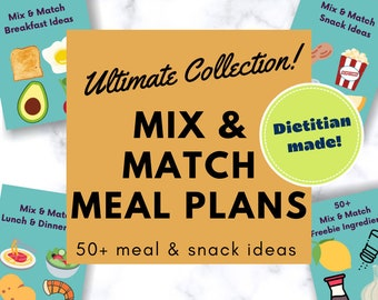 Plant Based Meal Plan Printable for Breakfast, Lunch, Dinner + Snacks   50+ Menu Template Digital E-Book   Flexitarian Meal Planner