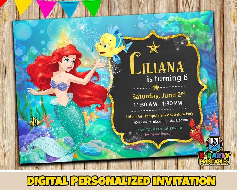 Ariel Invitation Little Mermaid cake topper Little Mermaid Printable Invitation Little Mermaid birthday Little Mermaid Invitation