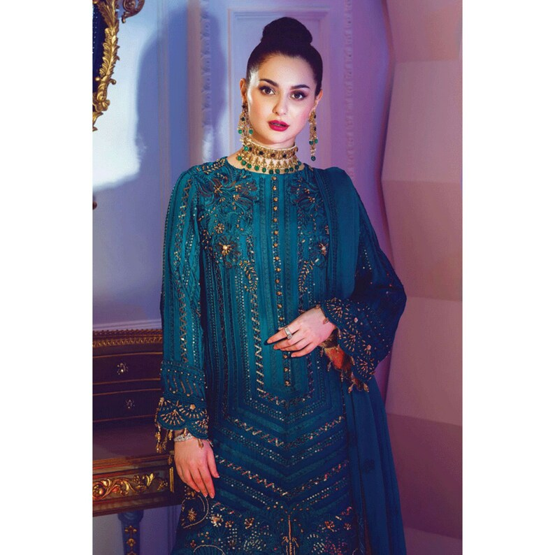 Made to Order Pakistani Wedding Dresses Indian Dress Green Chiffon Suit Latest Party Wear Clothes Shalwar Kameez Collection USA UK