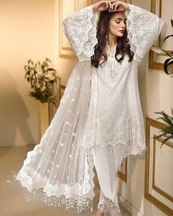Pakistani Wedding Dresses Indian Dress White Chiffon Collection 2020 Latest Style Salwar Kameez Made To Order