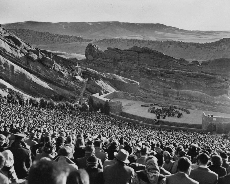 Historical Photo Vintage 1940s Black and White Photo Print of Red Rocks Amphitheater in Colorado Vintage Home Decor