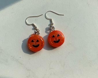 Pumpkin Head Resin Earrings