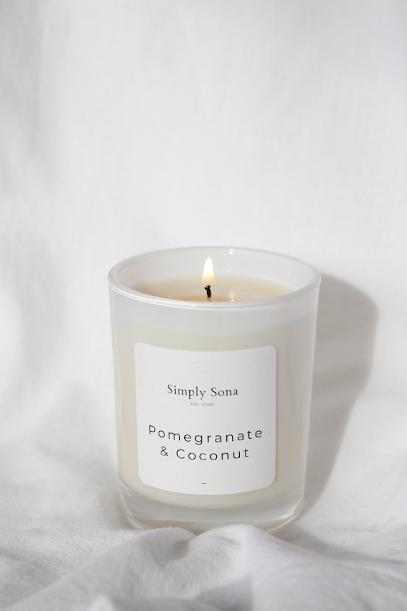 Pomegranate & Coconut Soy Wax Small Candle | Cruelty-Free | Hand-Poured | Eco-Soy
