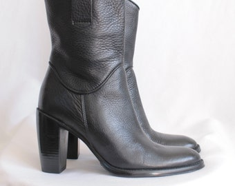 Leather Mid Calf Boots - Size 35