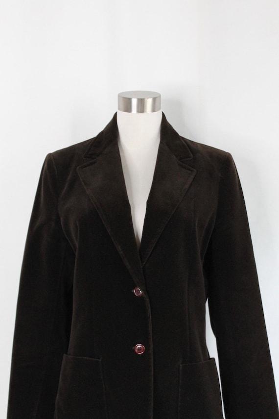 Dark Brown Velvet Blazer - Fits a Size 6/8