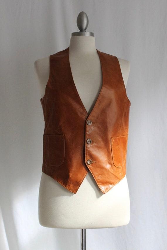 Cognac Leather Vest - Size M