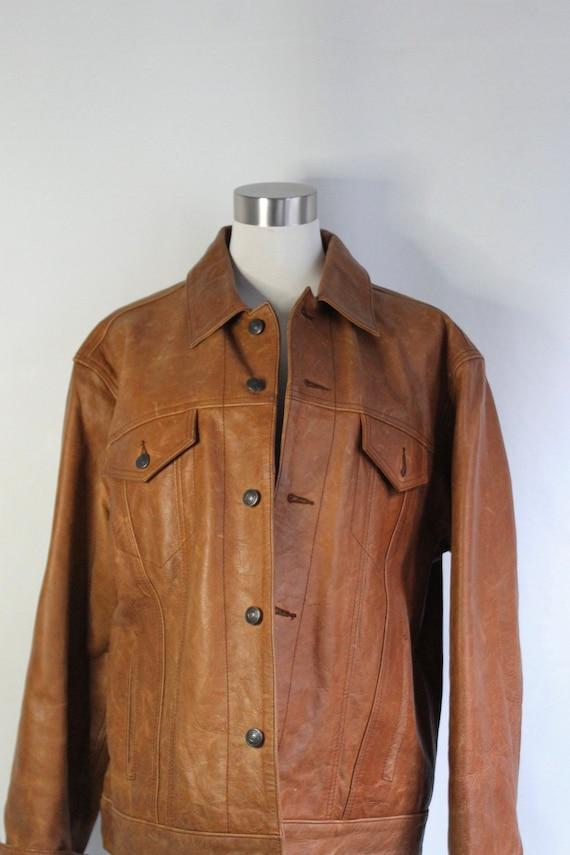 Cognac Leather Oversized Jacket - Size M/L