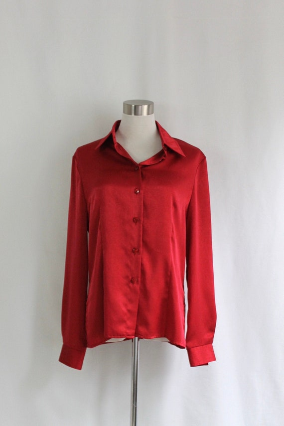 Red Satin Button Up Blouse - Size 8P