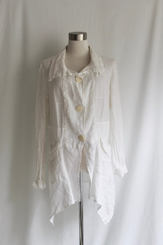 White Linen Button Up Tunic - Size S