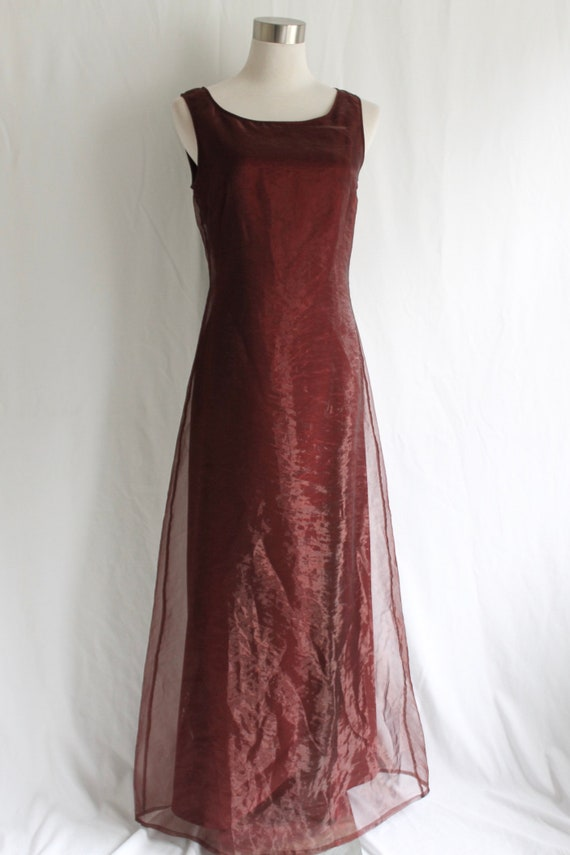 Burgundy Organza Dress - Size 4