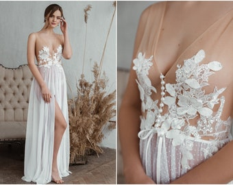 Bridal Maxi Boudoir Dress, Bride Photo Shoot, Bridesmaid Gift, Wedding Lingerie, Bridal Lace Robe Flor